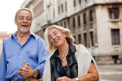 Senior couple first visit to Italy