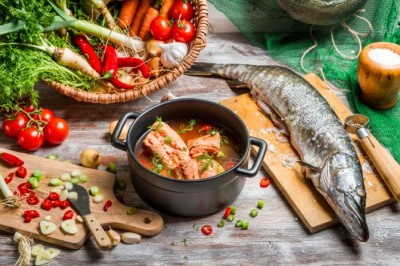 Image showing mediterranean diet, including fish and fresh vegetables.